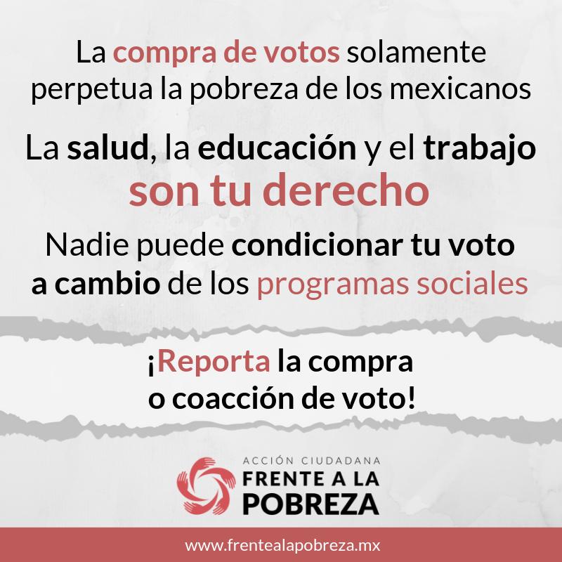 Reporta actos de compra o coacción de voto.