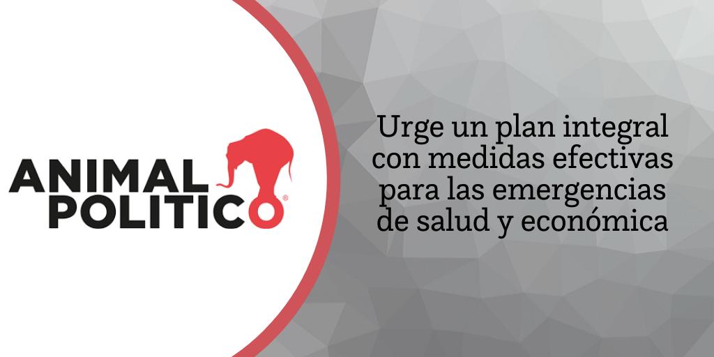Blog de Animal Político: Urge un plan integral con medidas efectivas para las emergencias de salud y económica